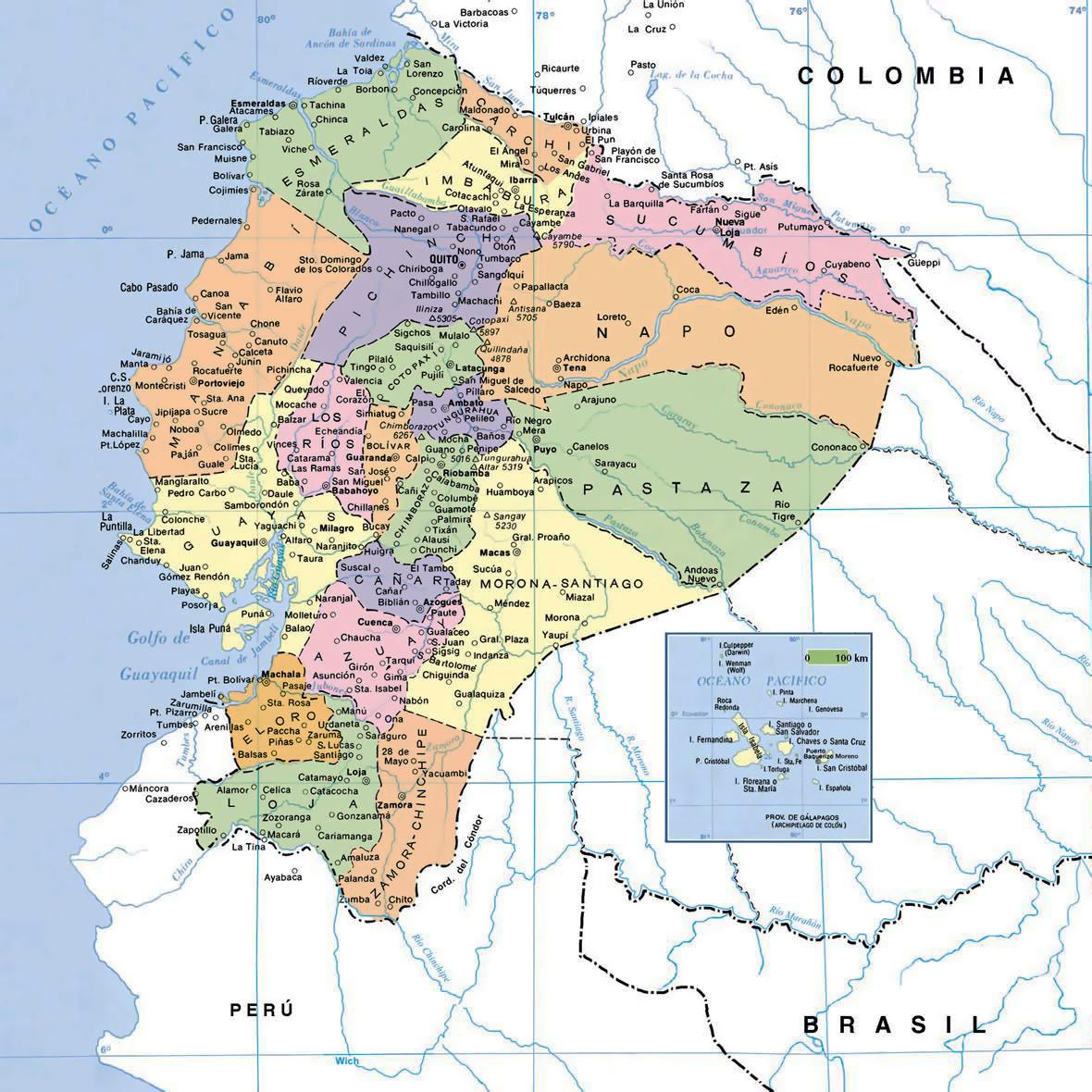 Political map of Ecuador with cities Ecuador South America