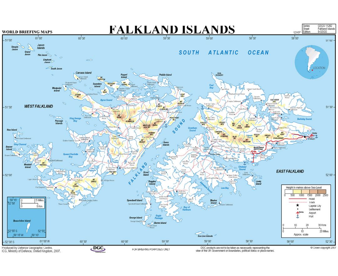 Elevation map of Falkland Islands with cities, roads, sea ports and airports