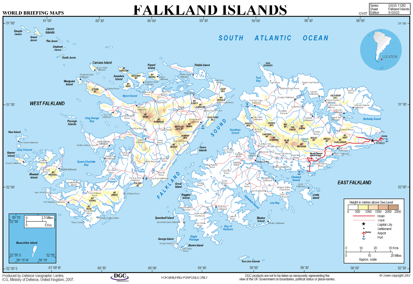 Elevation Map Of Falkland Islands With Cities Roads Sea Ports - World airports map