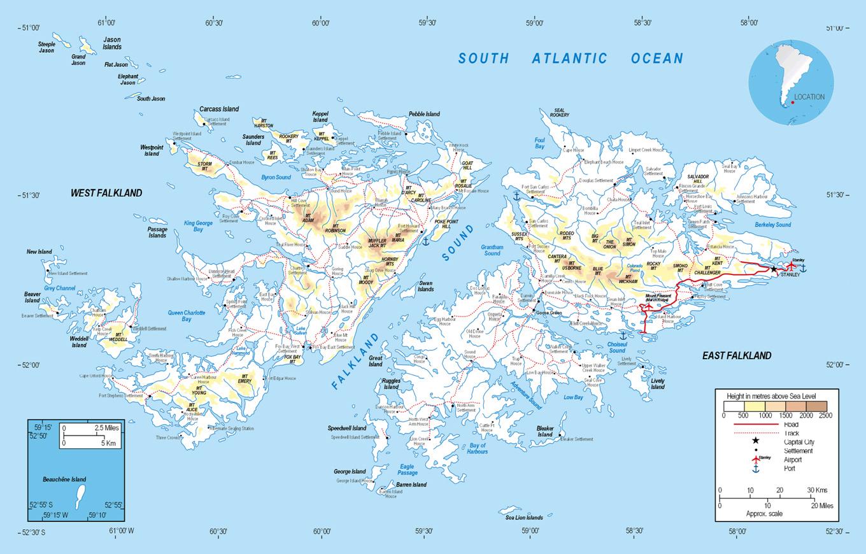 Elevation Map Of Falkland Islands Falkland Islands South America