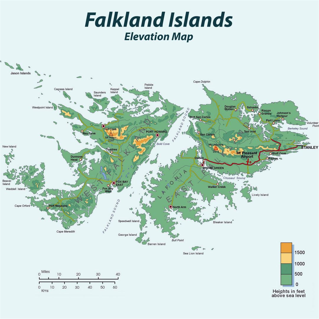 Large detailed elevation map of Falkland Islands with roads and cities