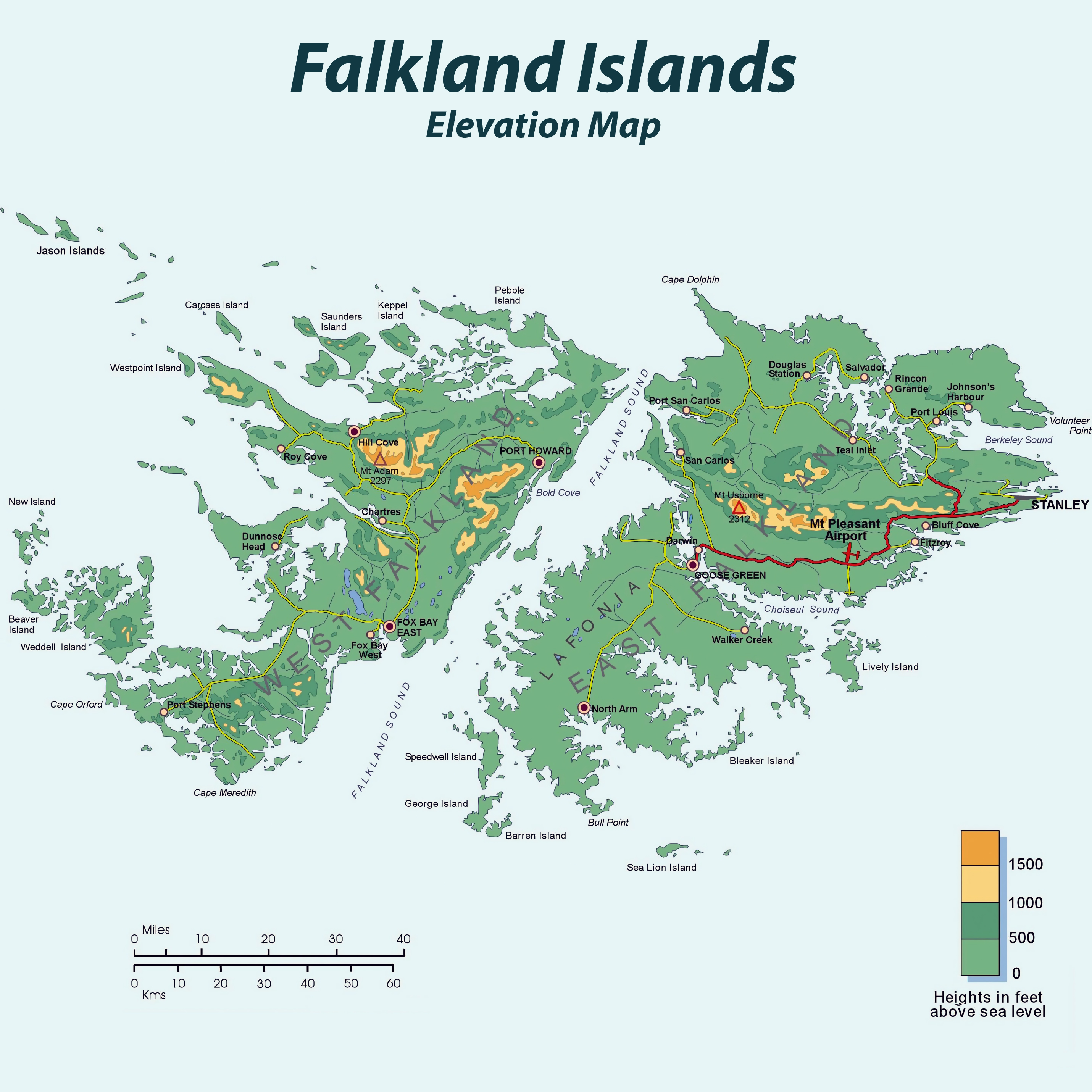 Large detailed elevation map of Falkland Islands with roads and