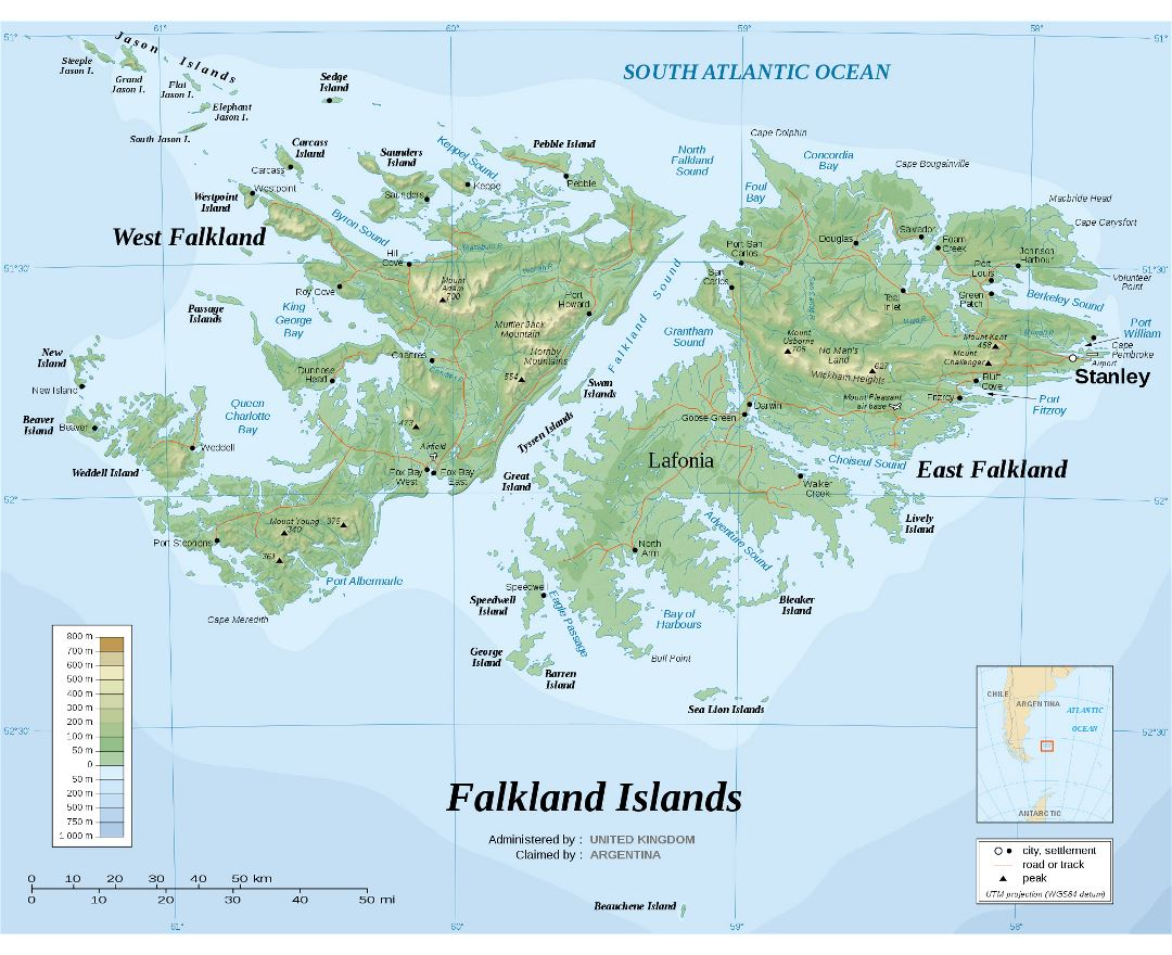 Large detailed physical map of Falkland Islands with roads and cities