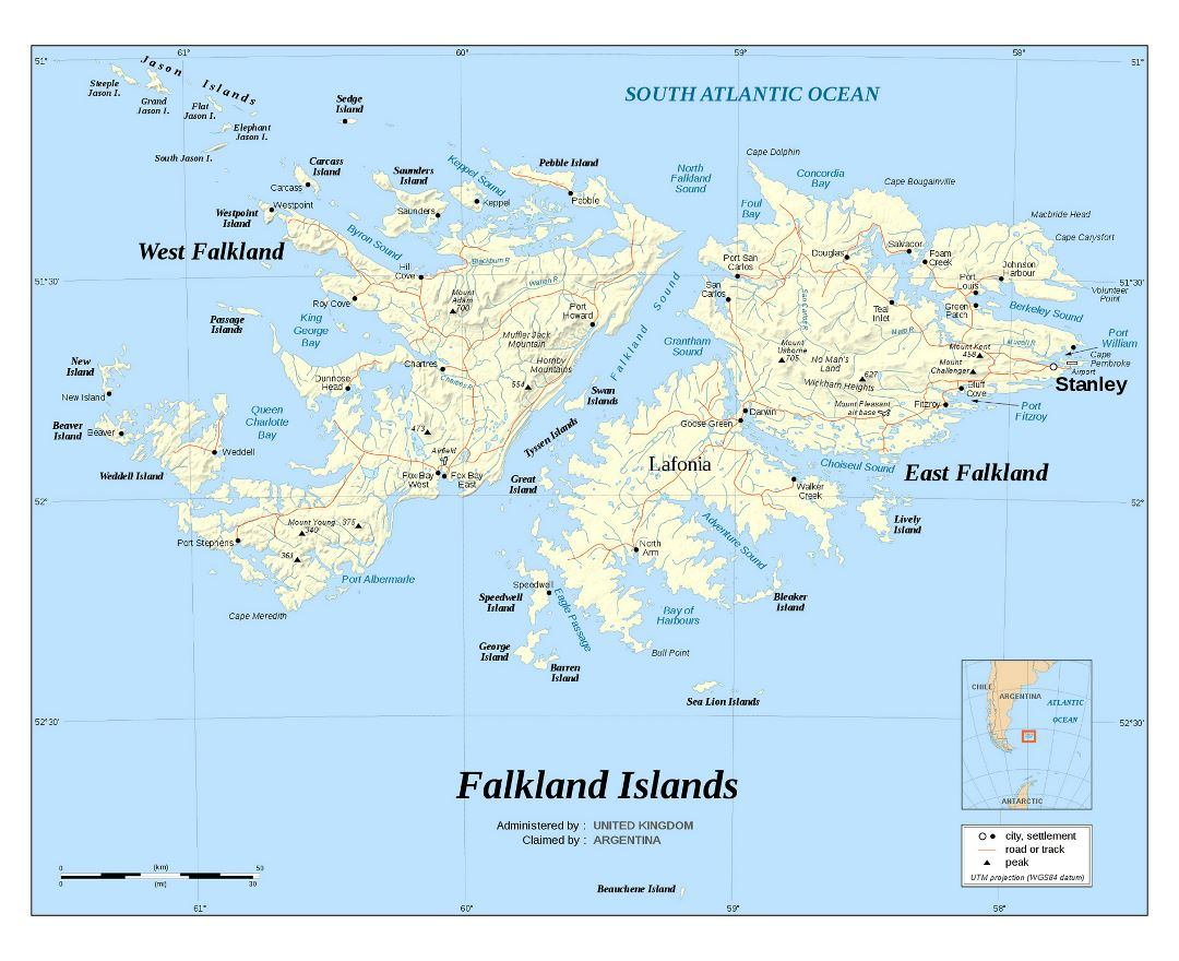 Large detailed political map of Falkland Islands with relief, roads and cities