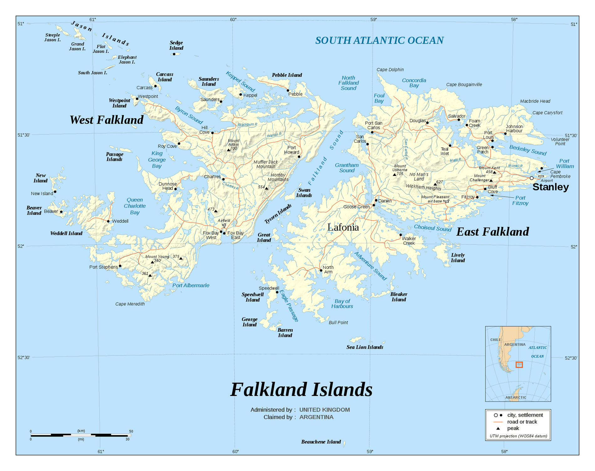 Large detailed political map of Falkland Islands with relief roads