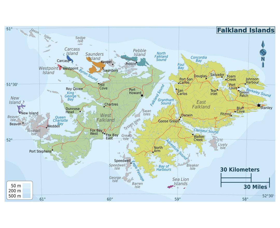 Large detailed regions map of Falkland Islands with roads and cities
