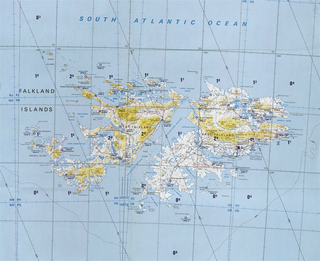 Detailed Map Of The Falkland Islands