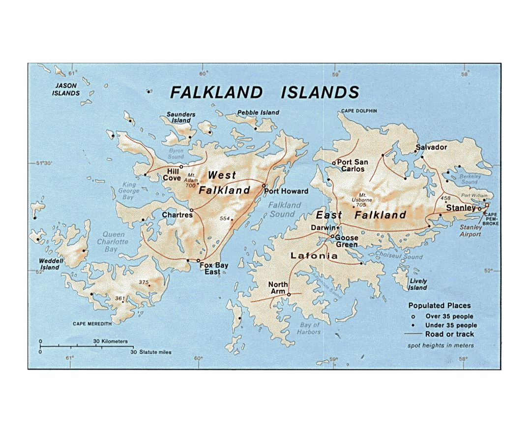 Large political map of Falkland Islands with relief, roads and cities