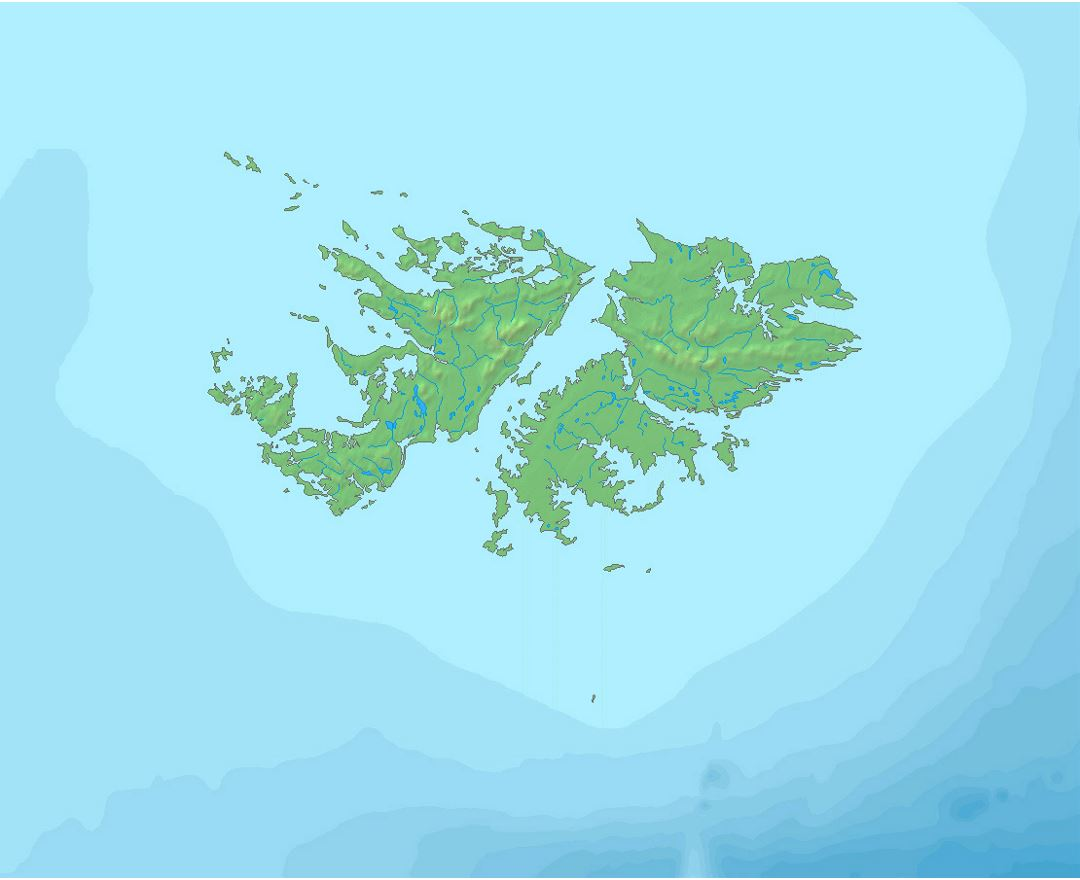 Large relief map Falkland Islands