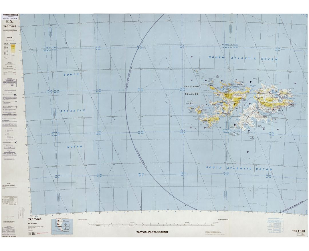 Large scale topographic map of Falkland Islands
