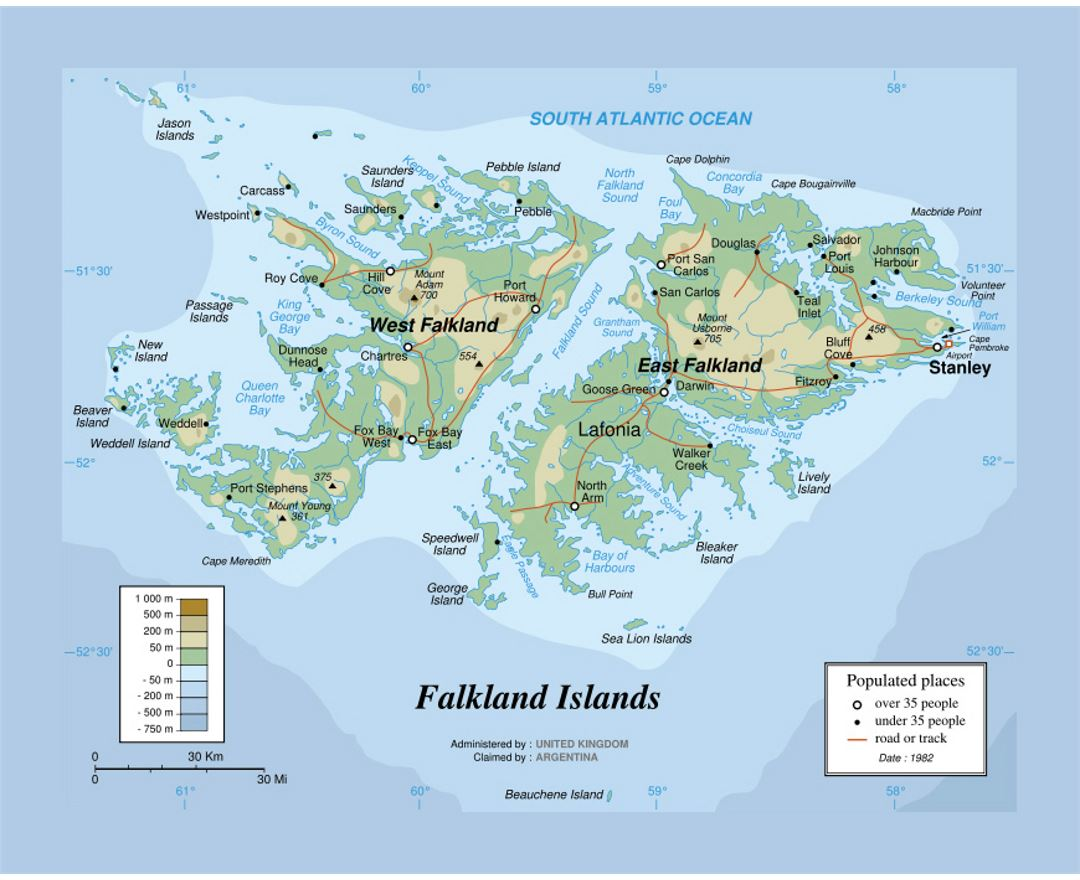 Physical map of Falkland Islands
