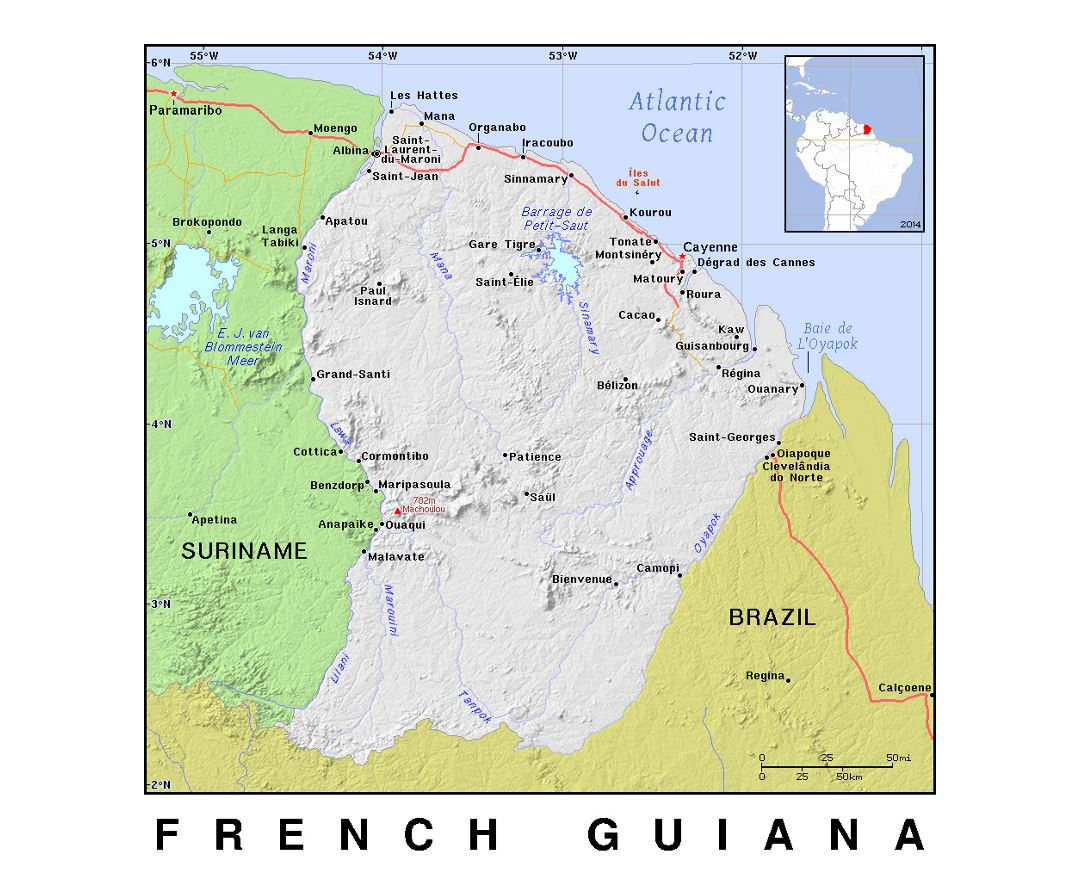 Detailed political map of French Guiana with relief