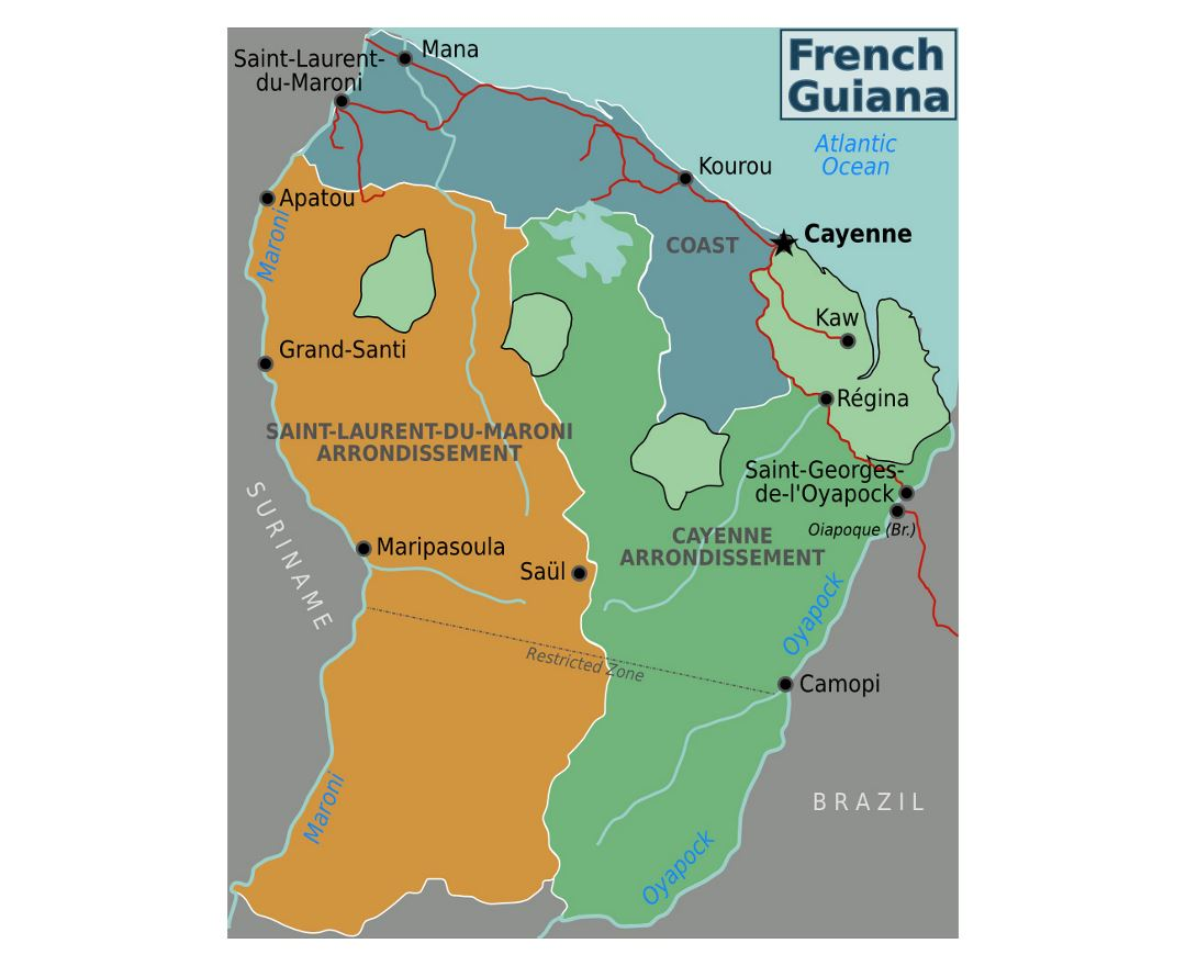 Maps of French Guiana Detailed map of French Guiana in English