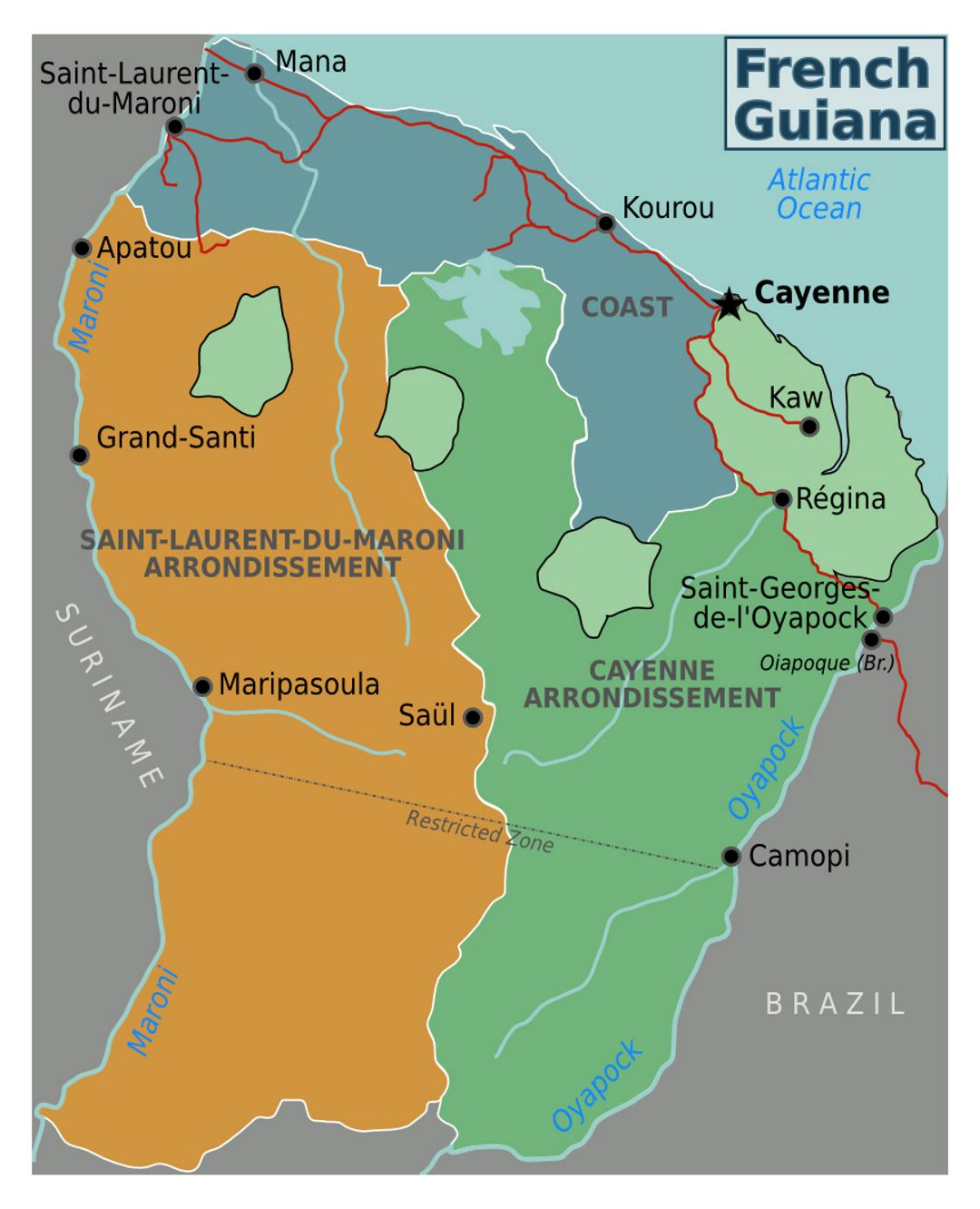 Detailed regions map of French Guiana