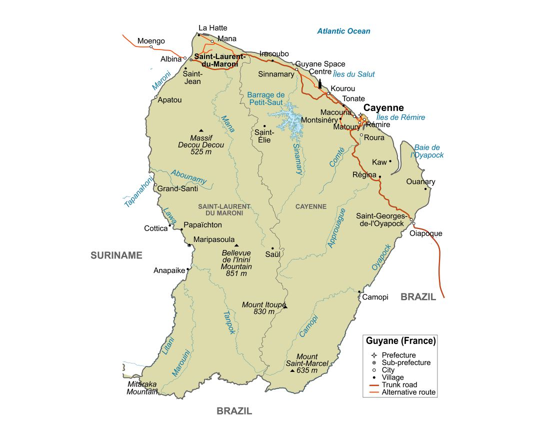 Large detailed political map of French Guiana with major roads, villages and cities