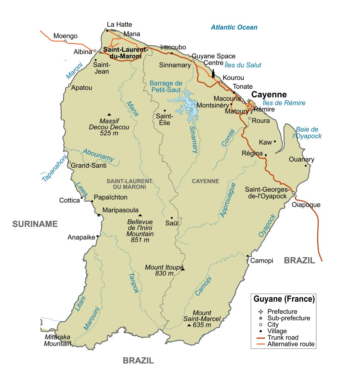 Large Detailed Political Map Of French Guiana With Major