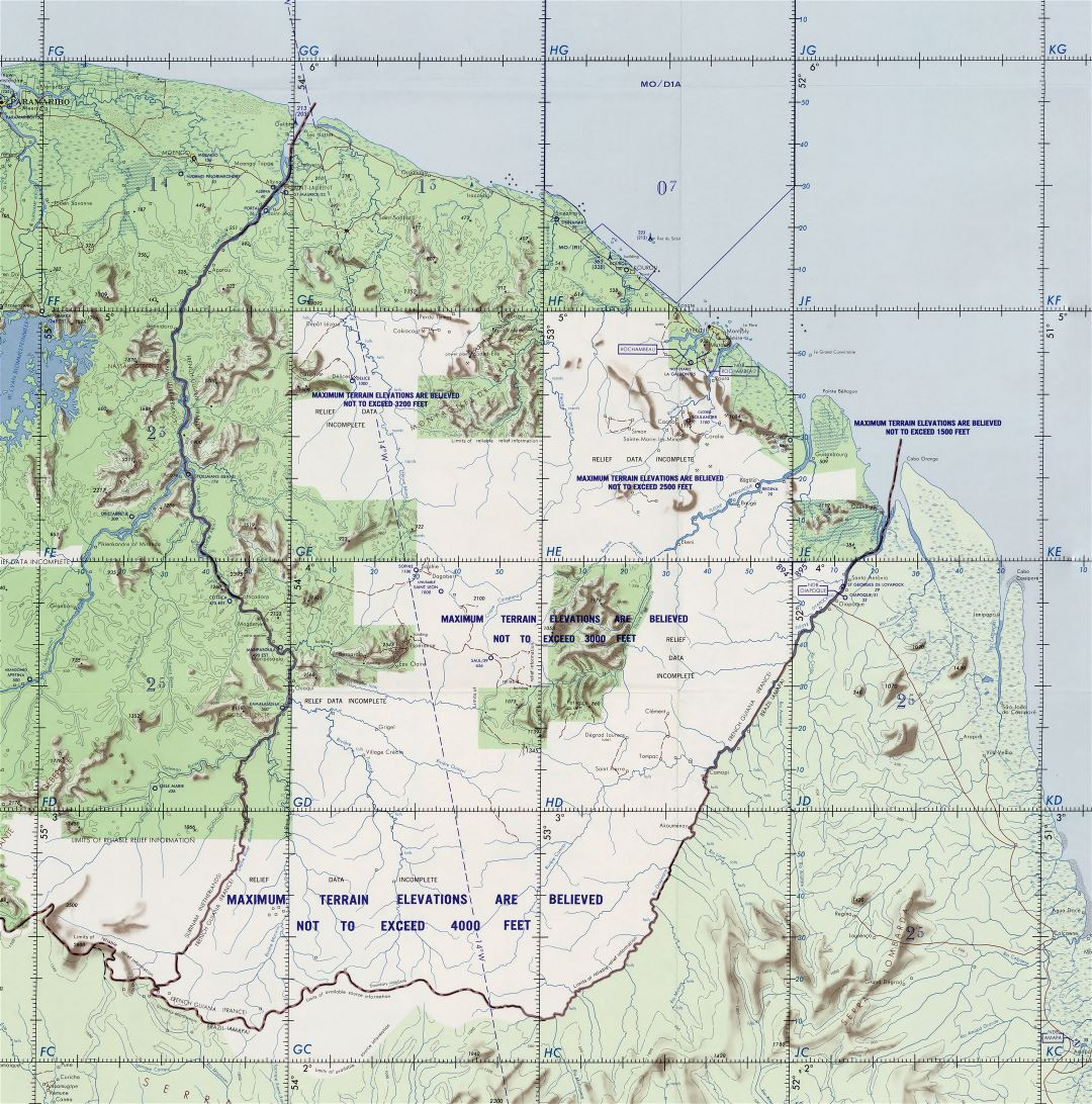 Large detailed topographical map of French Guiana