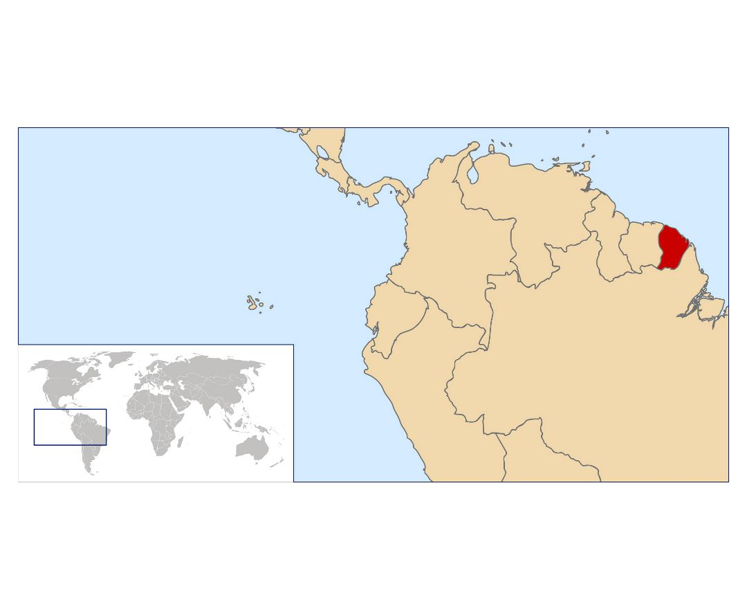 Large location map of French Guiana