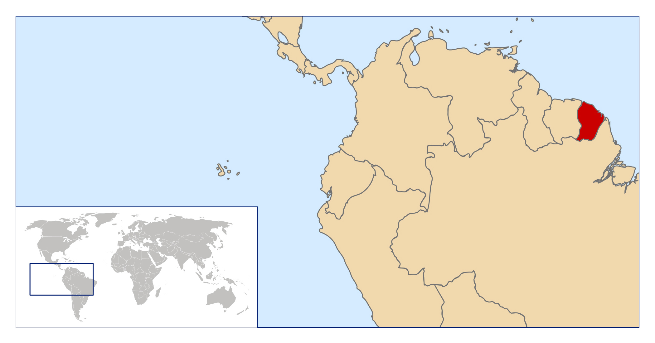 Large location map of French Guiana French Guiana South America