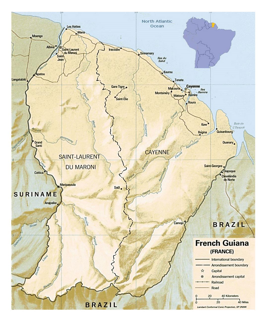 Large political and administrative map of French Guiana with relief