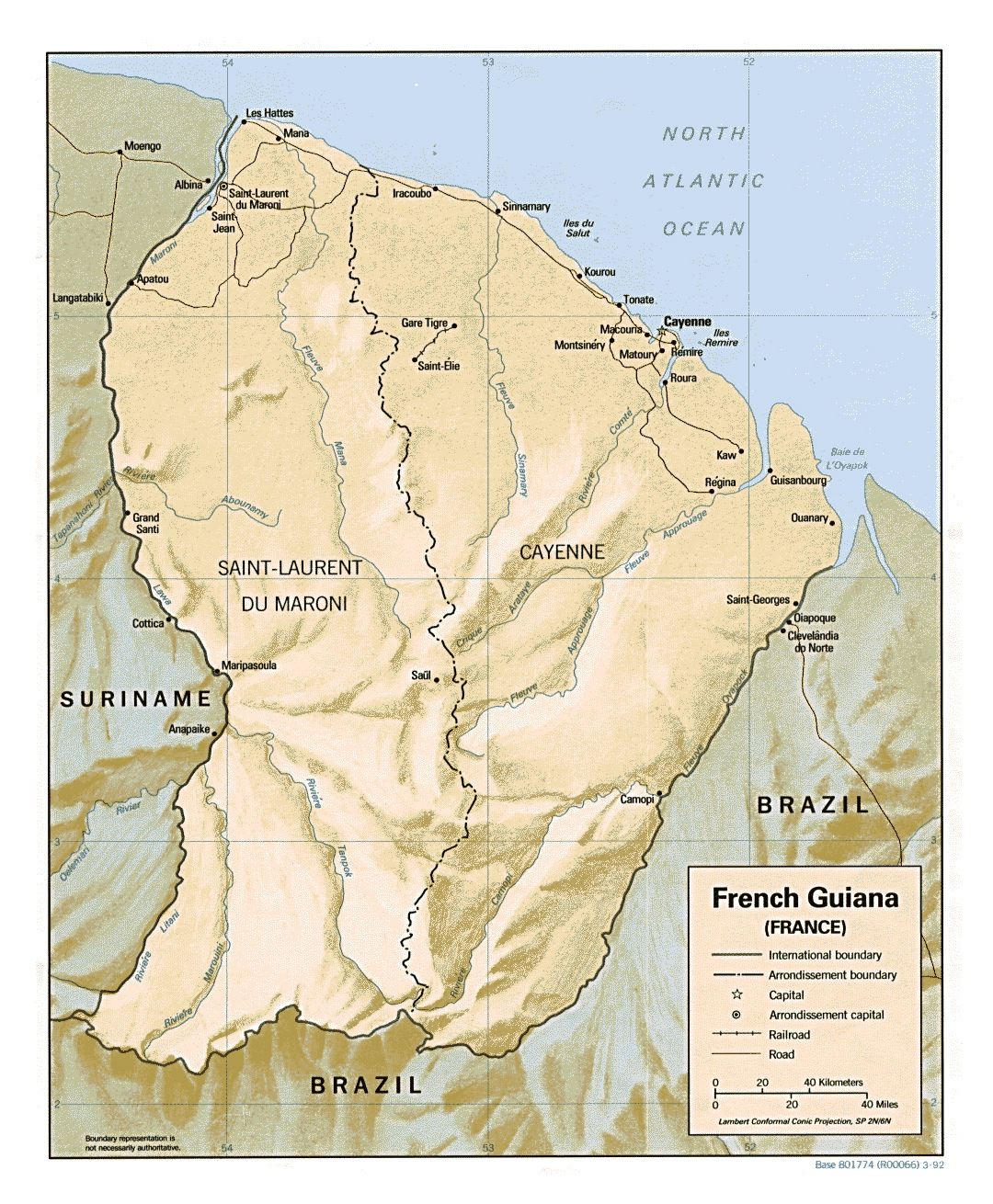 Large political map of French Guiana with relief, roads and cities - 1992