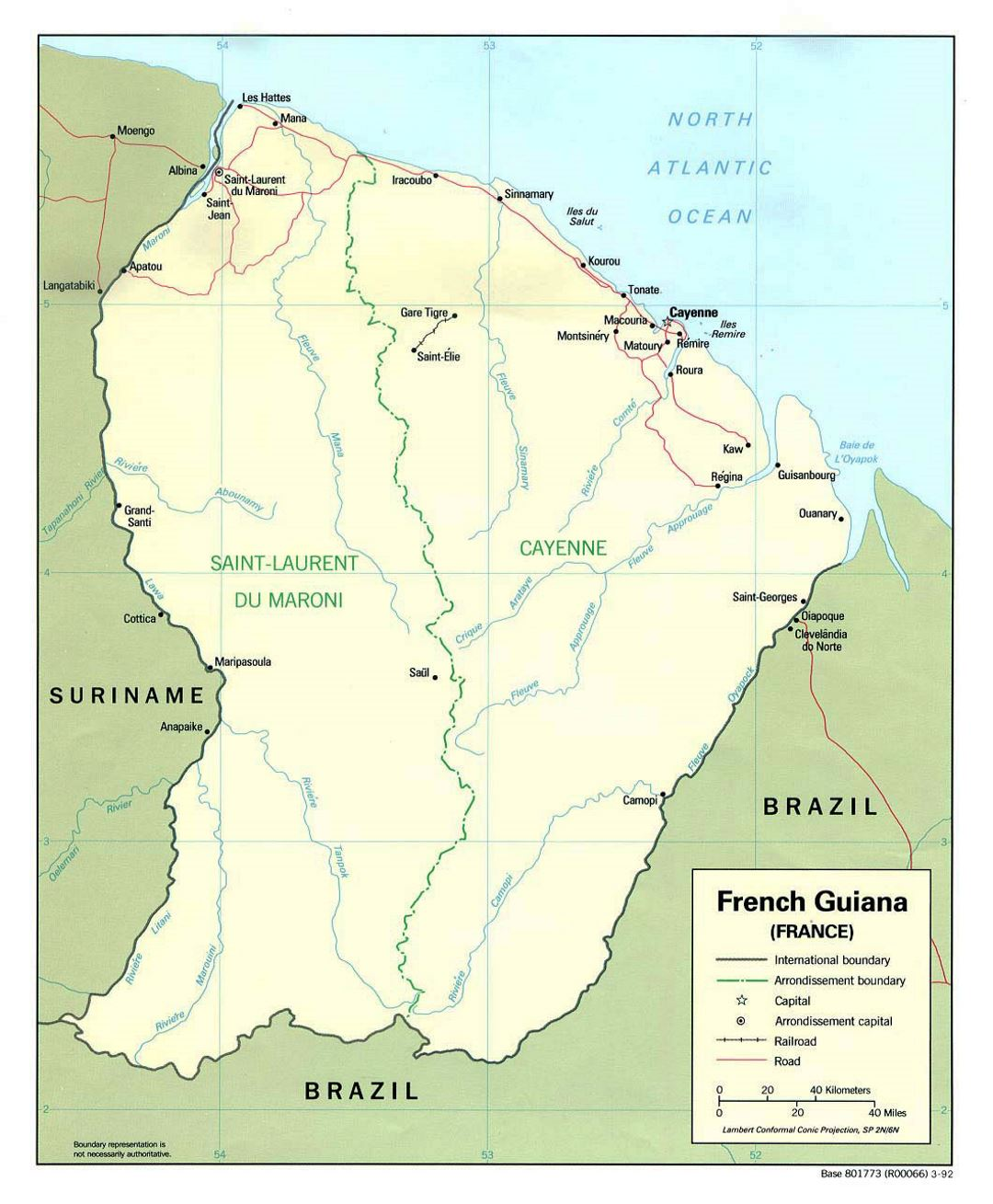 Large political map of French Guiana with roads and cities - 1992