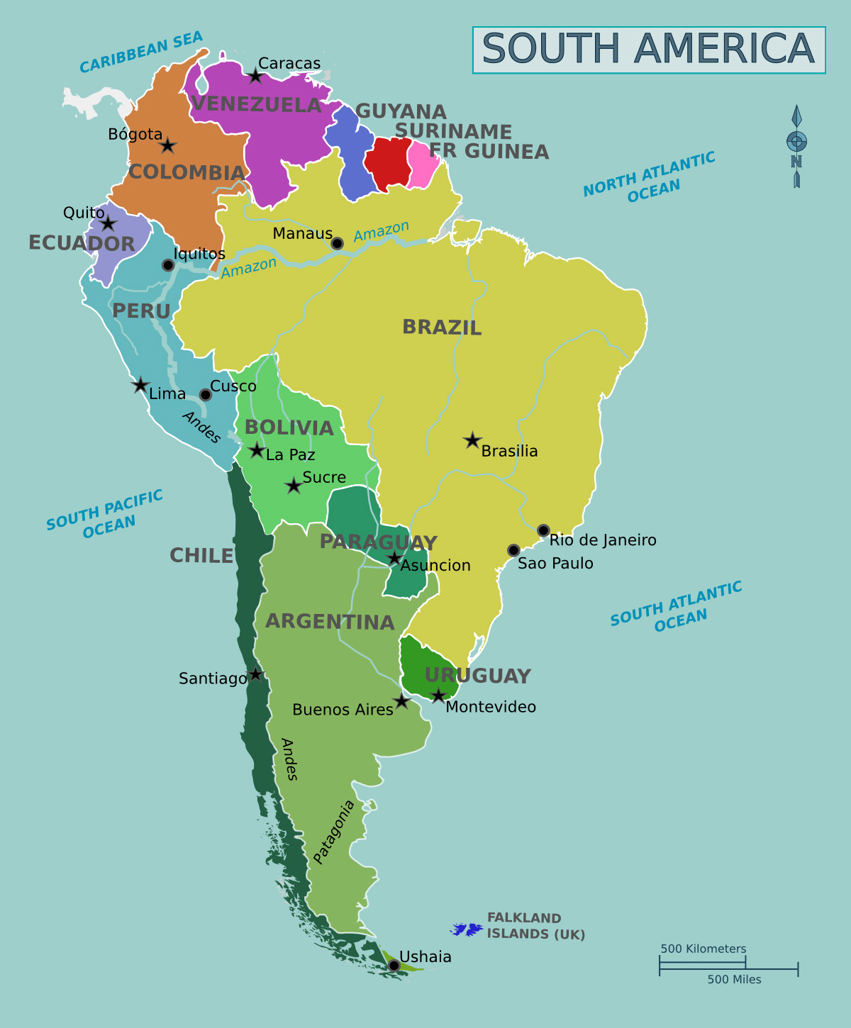 Large political map of South America | French Guiana | South America ...