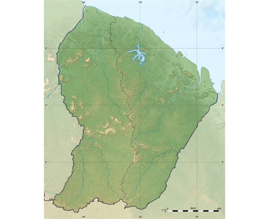 Large relief map of French Guiana