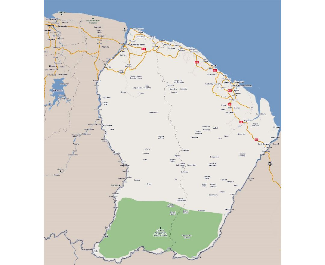 Large road map of French Guiana with cities