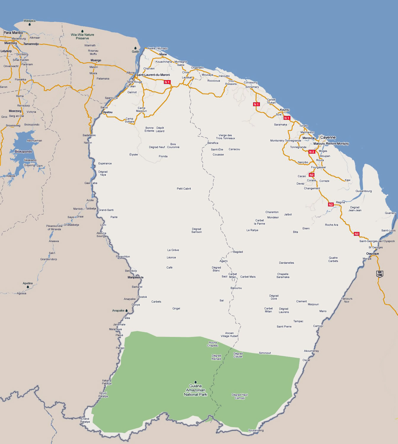 Map Of France Roads.Large Road Map Of French Guiana With Cities French Guiana South