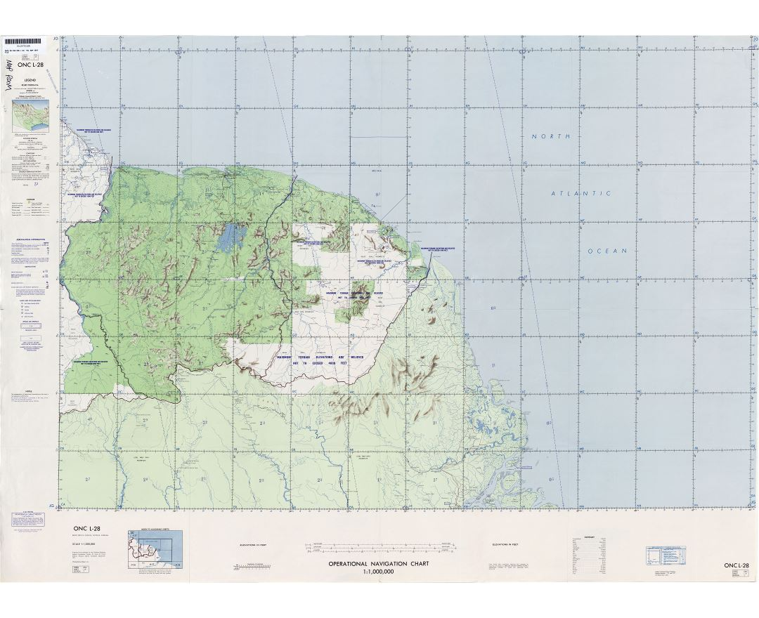 Large scale detailed topographical map of Surinam and French Guiana