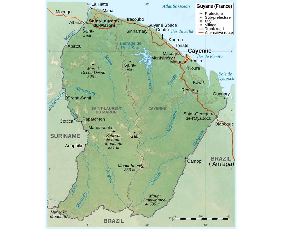 Large scale political map of French Guiana with relief, roads, cities and villages