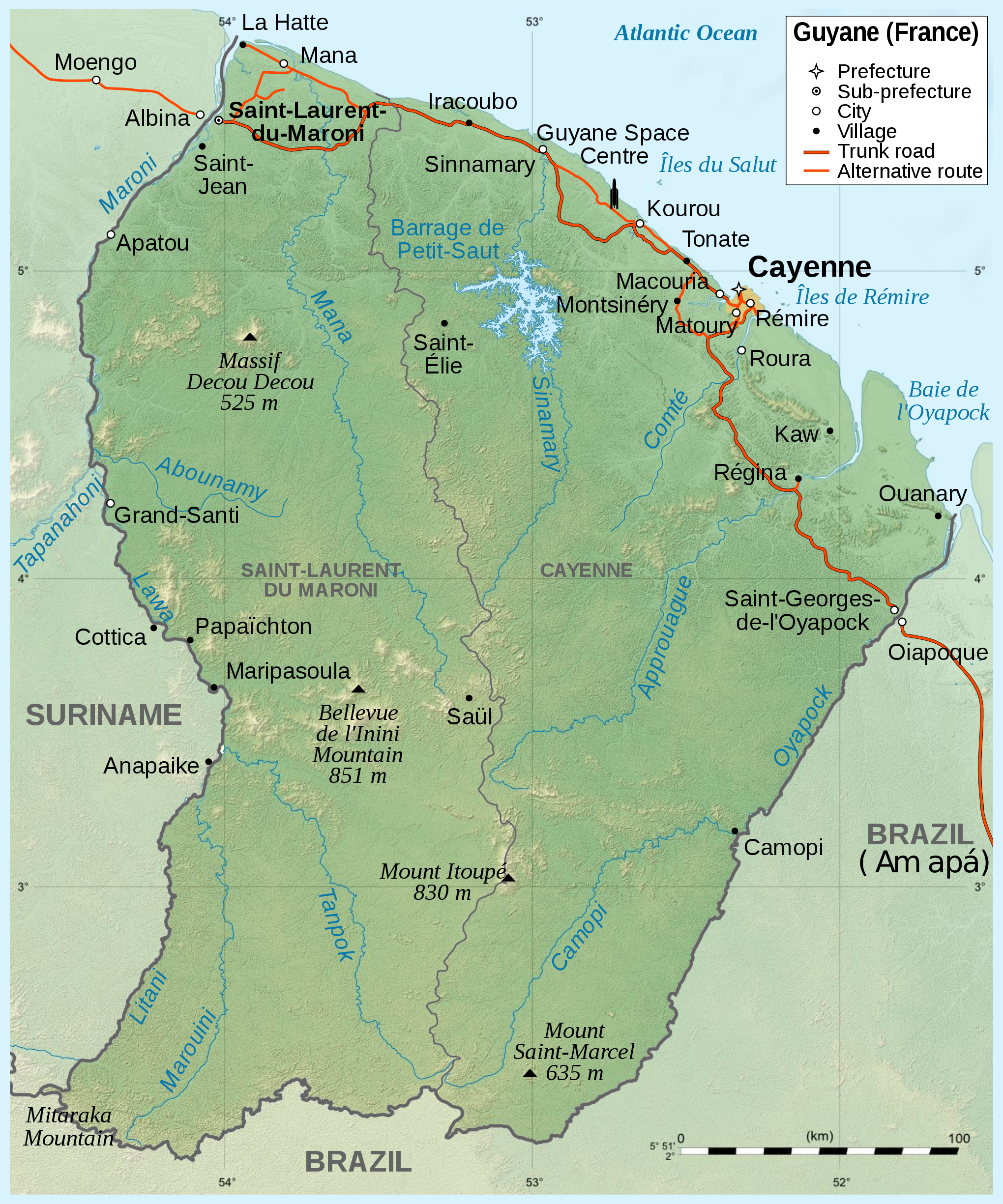 Large Scale Map Of France.Large Scale Political Map Of French Guiana With Relief Roads