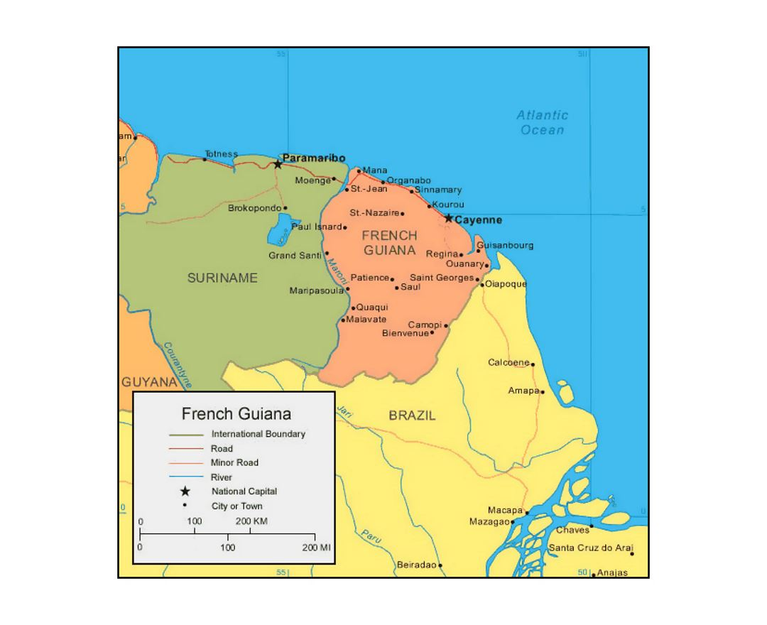 Maps Of French Guiana Detailed Map Of French Guiana In English - South america french guiana map