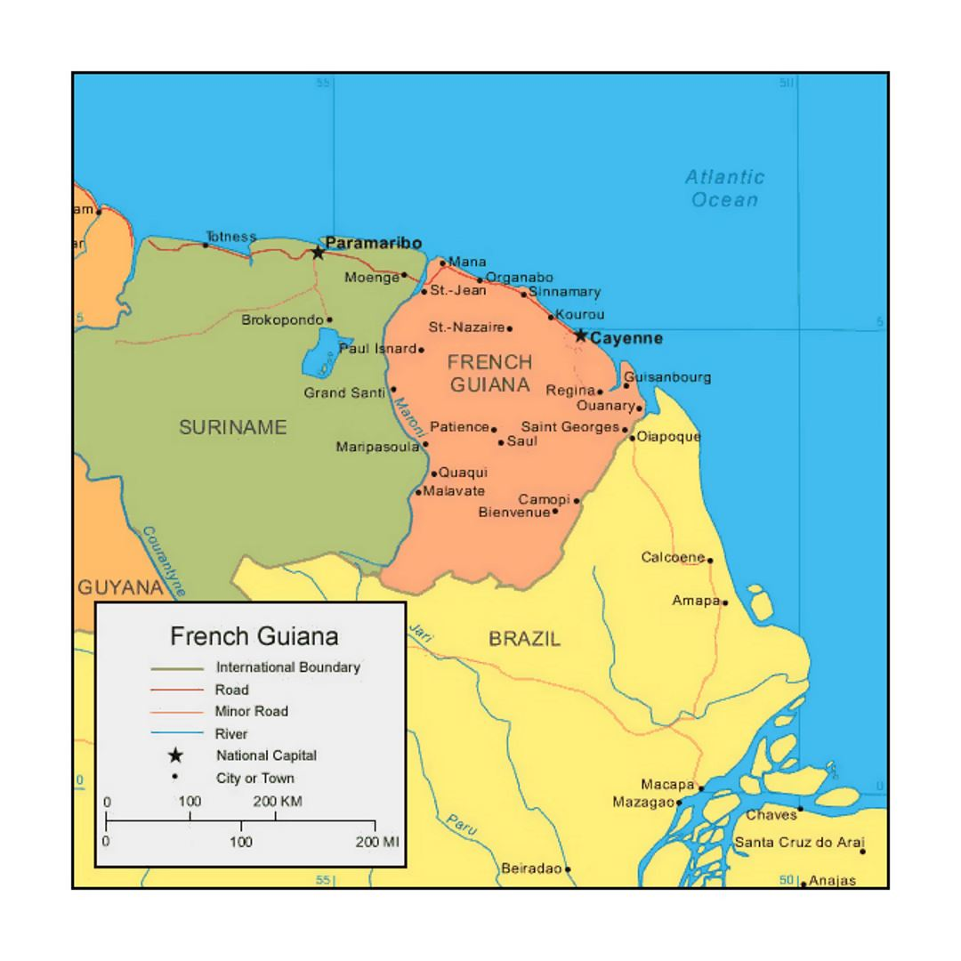 Political map of French Guiana with cities
