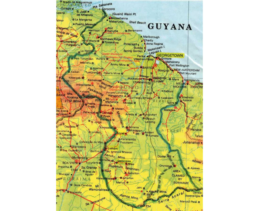 detailed elevation map of guyana with roads and all cities