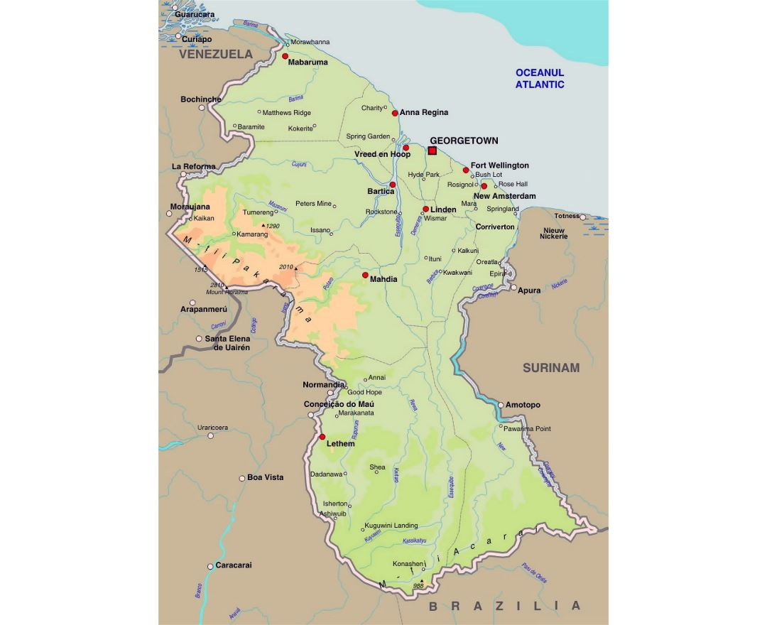 Maps Of Guyana Detailed Map Of Guyana In English Tourist Map - Guyana physical map