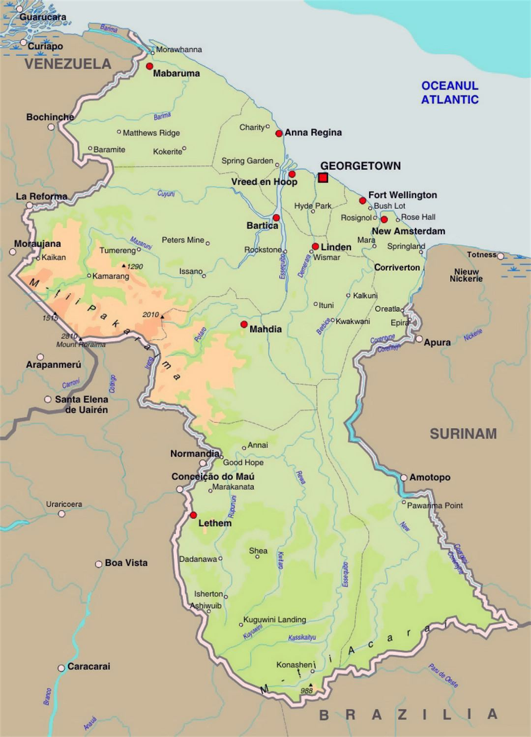 Detailed elevation map of Guyana with roads and cities