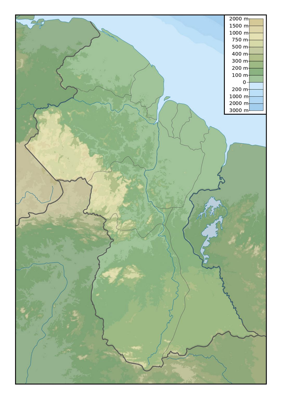 Detailed physical map of Guyana Guyana South America Mapsland