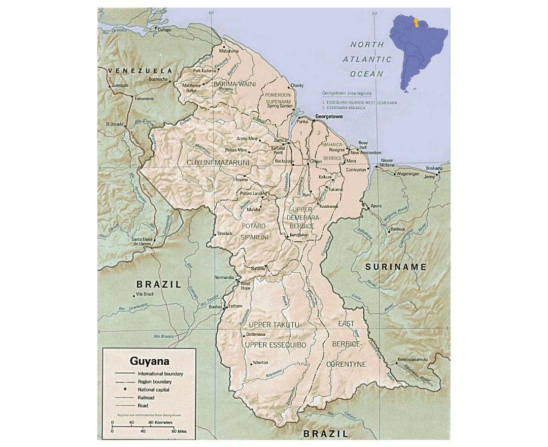 Detailed political and administrative map of Guyana with relief, roads and cities