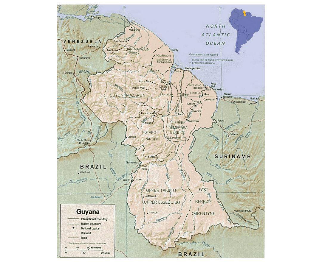 Maps of Guyana Detailed map of Guyana in English Tourist map