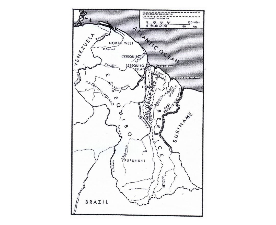 Detailed political map of Guyana