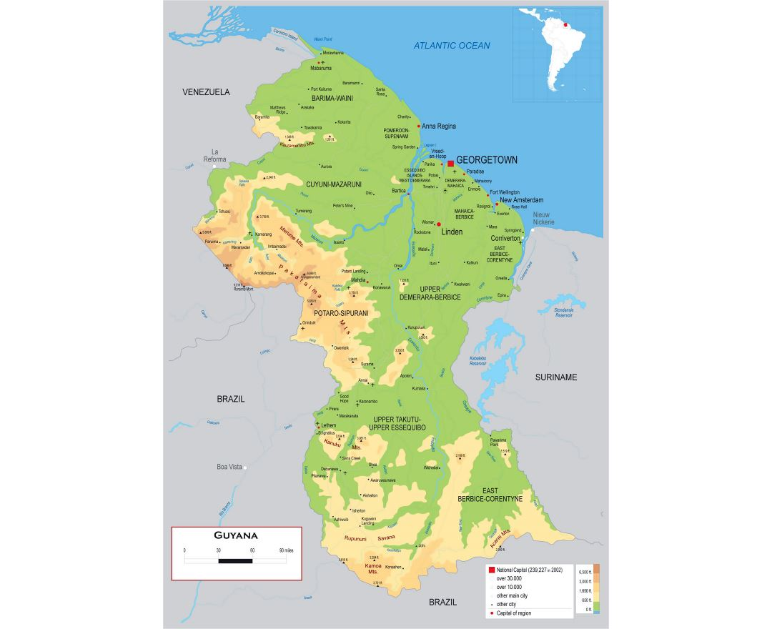 Large detailed physical map of Guyana with roads, cities and airports