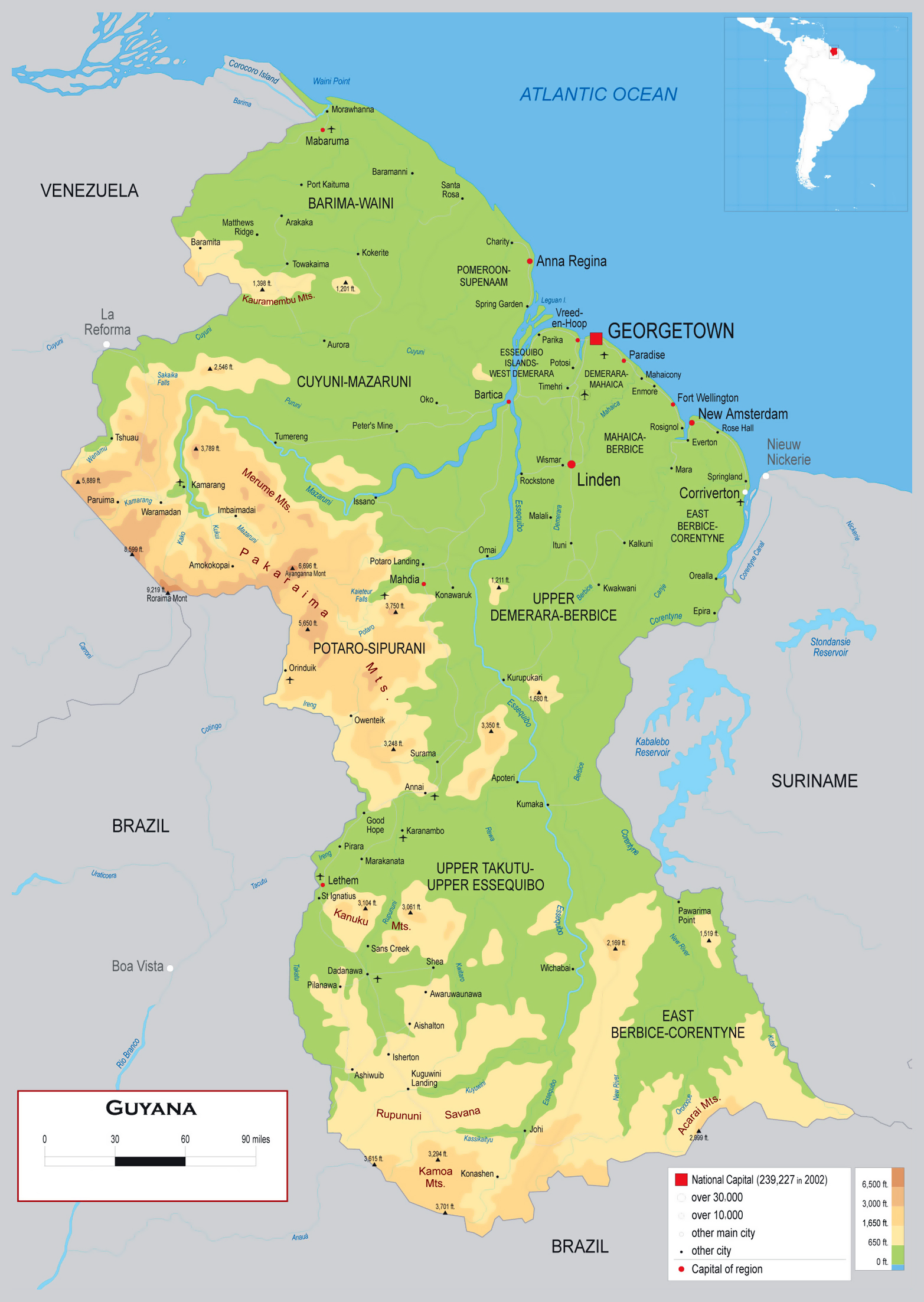 Large detailed physical map of Guyana with roads cities and