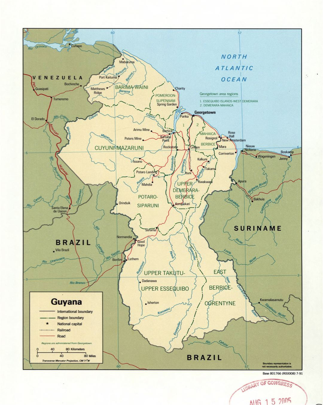 Large detailed political and administrative map of Guyana with marks of roads, railroads and major cities - 1991