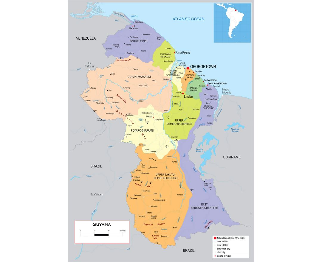 Large detailed political and administrative map of Guyana with roads, cities and airports