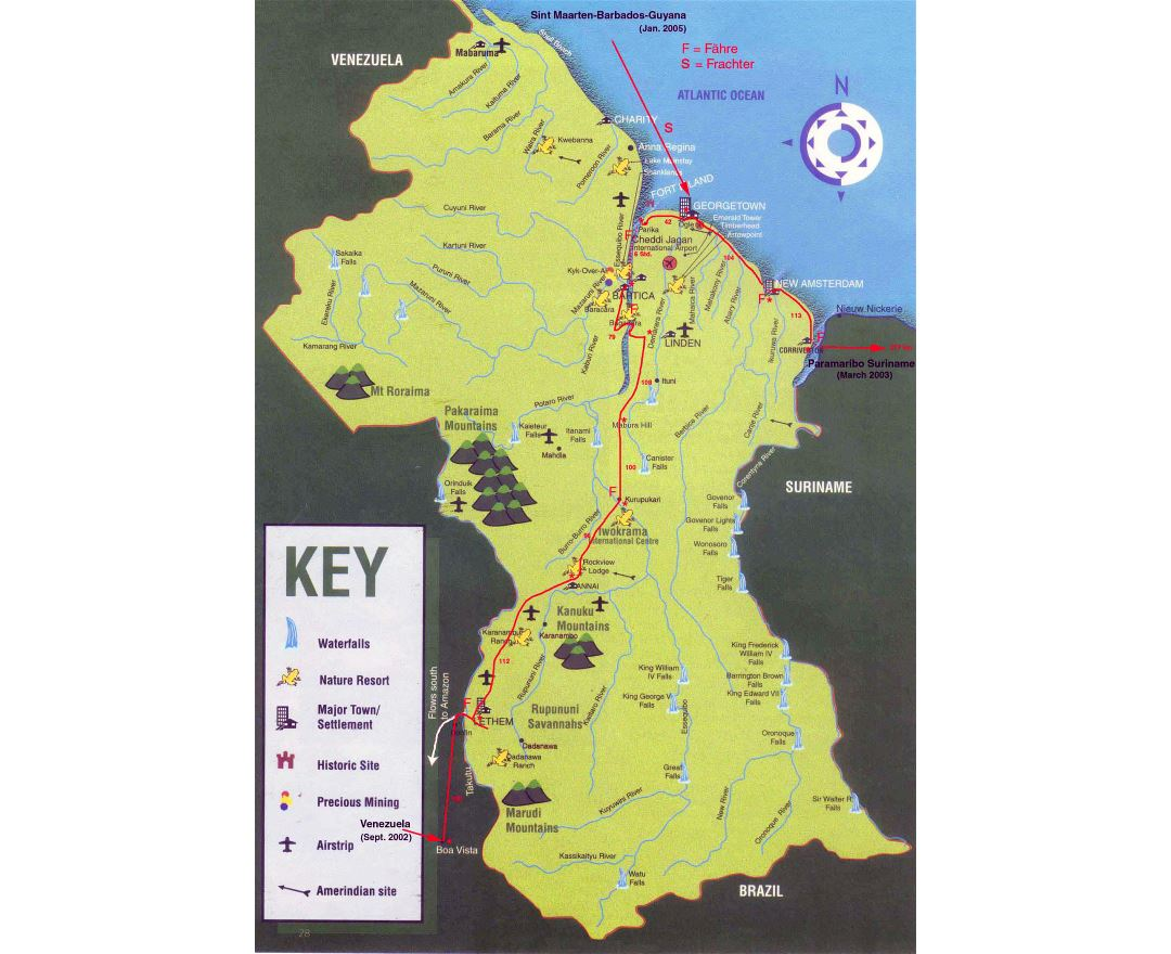 Large detailed tourist map of Guyana