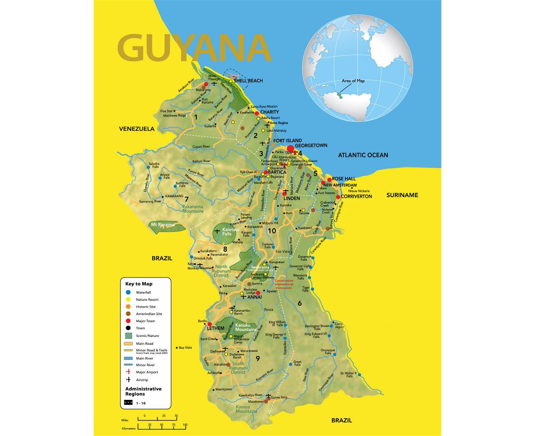 Large detailed travel map of Guyana