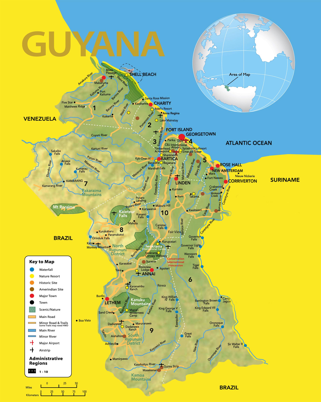 Large detailed travel map of Guyana Guyana South America
