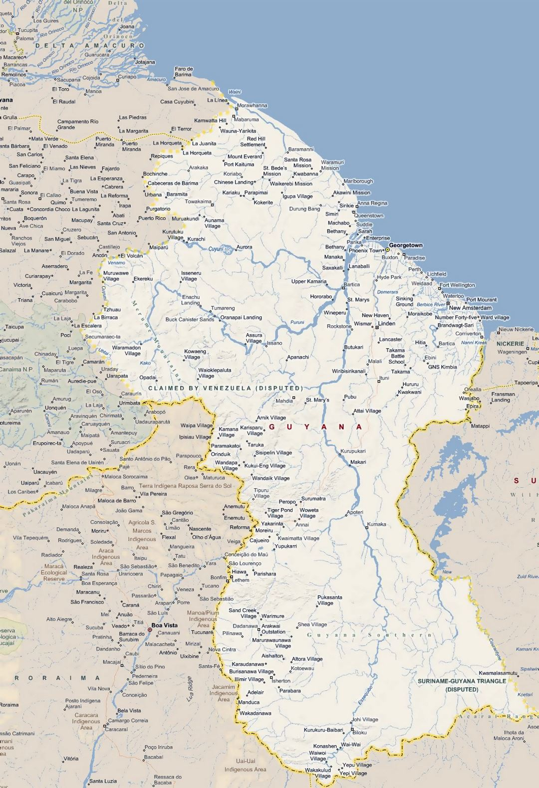 Large map of guyana with all cities guyana south for How big is america